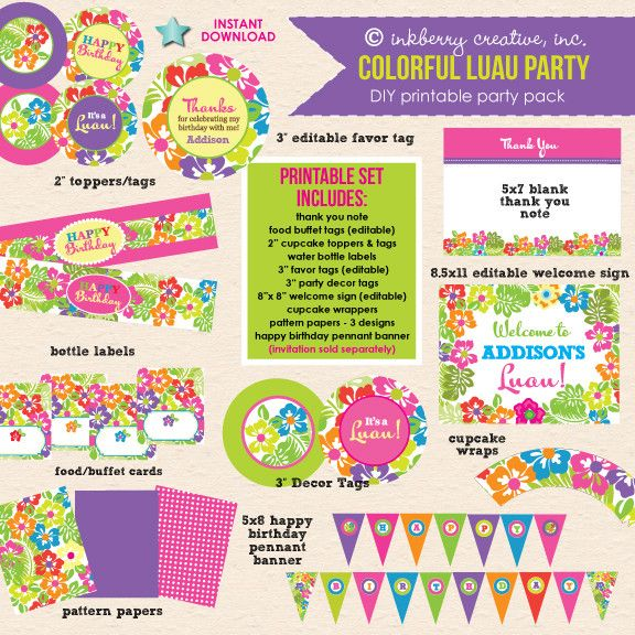 Colorful Luau Birthday Party - DIY Printable Party Pack