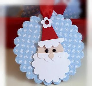 Stampin' Up! Santa Punch Art  Gift tag idea