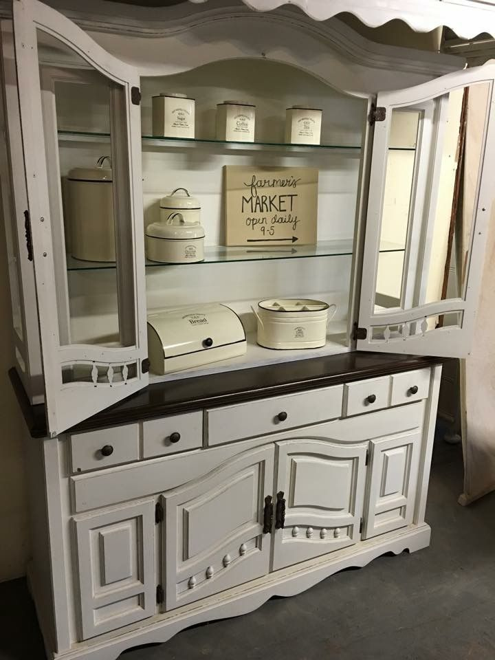 Dining Hutch Redone Using Rethunk Junk S Furniture Paint In Cotton And Our Stain Top For The