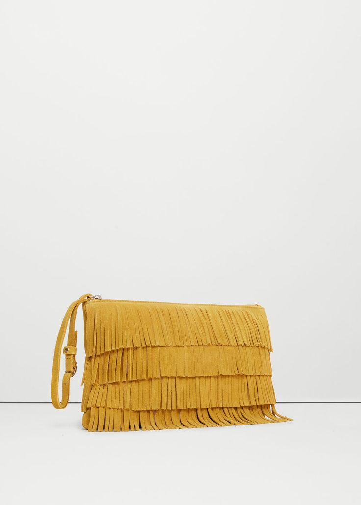 Leather fringes clutch | MANGO