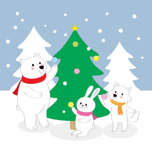 Cartoon Cute Snow Animals And Christmas Trees Vector In 2020 Snow Animals Christmas Tree Cartoon