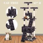 "Cat Tree Tower Condo New 67"" Furniture Scratching Post Pet Kitty Play House"