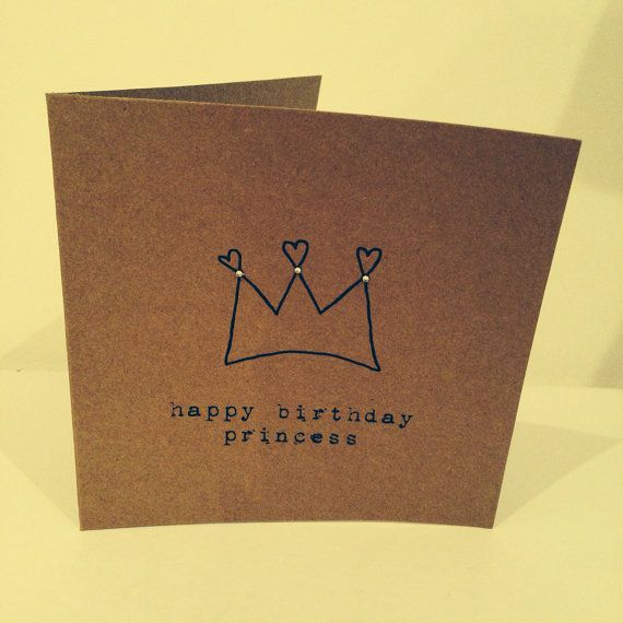 Vintage happy birthday princess crown card with sparkly gems on Etsy, £2.50