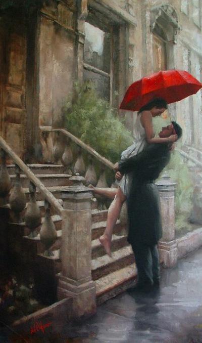 Daniel Dell'Orfano ~ 'Love in the Rain' NYC street scene