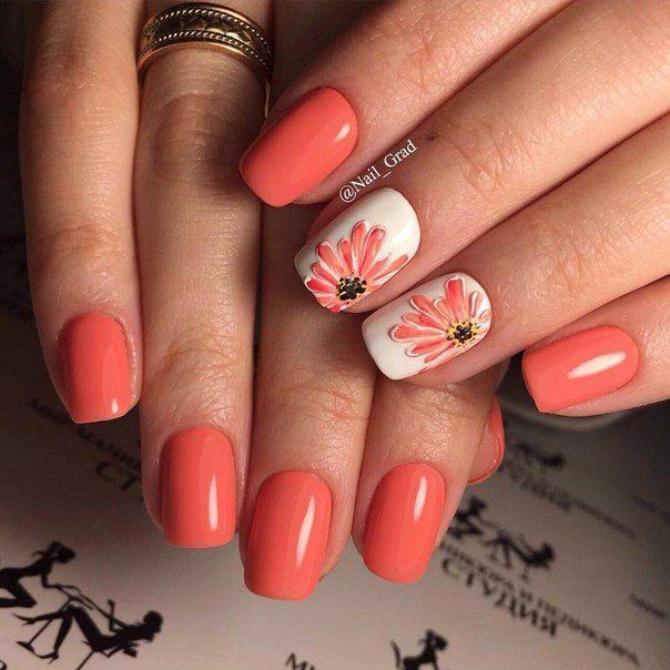Дизайны на коротких ногтях на коралловом цвете