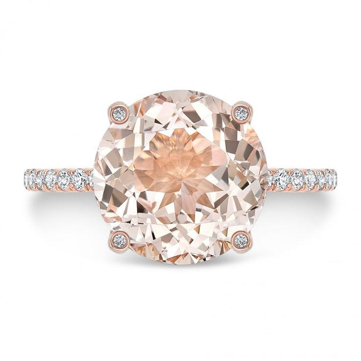 Morganite Engagement Ring with diamond tipped prongs