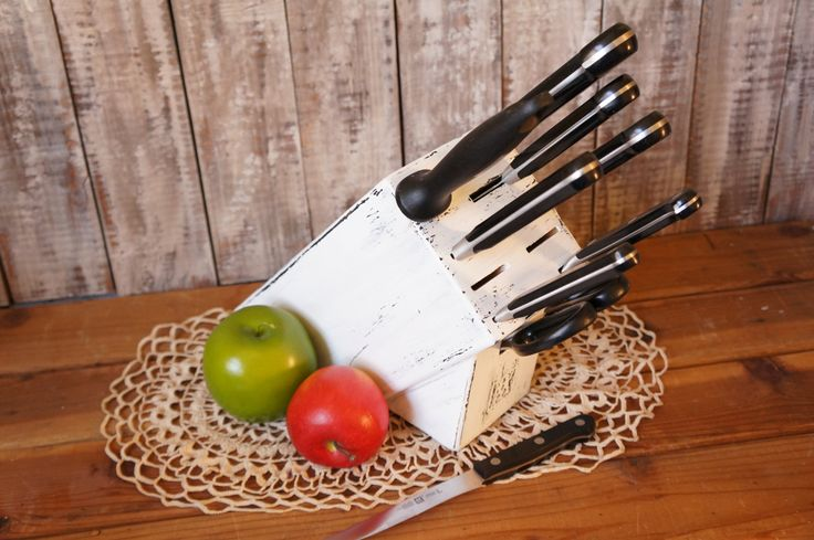 Henckels Rustic Knife Block Country Kitchen Decor - Farmhouse Kitchen Knife Holder White Shabby Chic Knife Block - Wood Knife Block by FestiveHomeDesigns on Etsy https://www.etsy.com/listing/212209563/henckels-rustic-knife-block-country