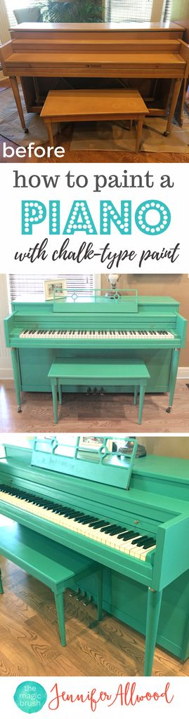Love this turquoise painted piano! How to to paint a piano with chalk paint and painting an old piano | Magic Brush | Fun bold painted piano ideas