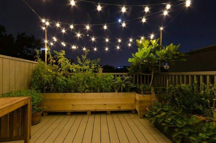 Urban Deck Garden With Festoon Lights Deckgarden Rooftop