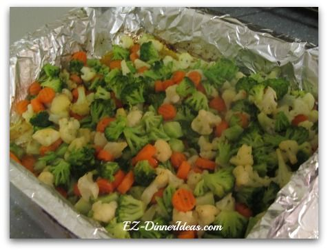This roasted California blend vegetables recipe will make you look at frozen vegetables in a very different way.  And you will love it.  Ingredients 3 pounds Frozen California Blend Vegetables (unthawed) 4-6 tablespoons Everything-in-your-spice-rack chicken dripping (or EVOO if you prefer purely vegetarian version) Salt and pepper to taste