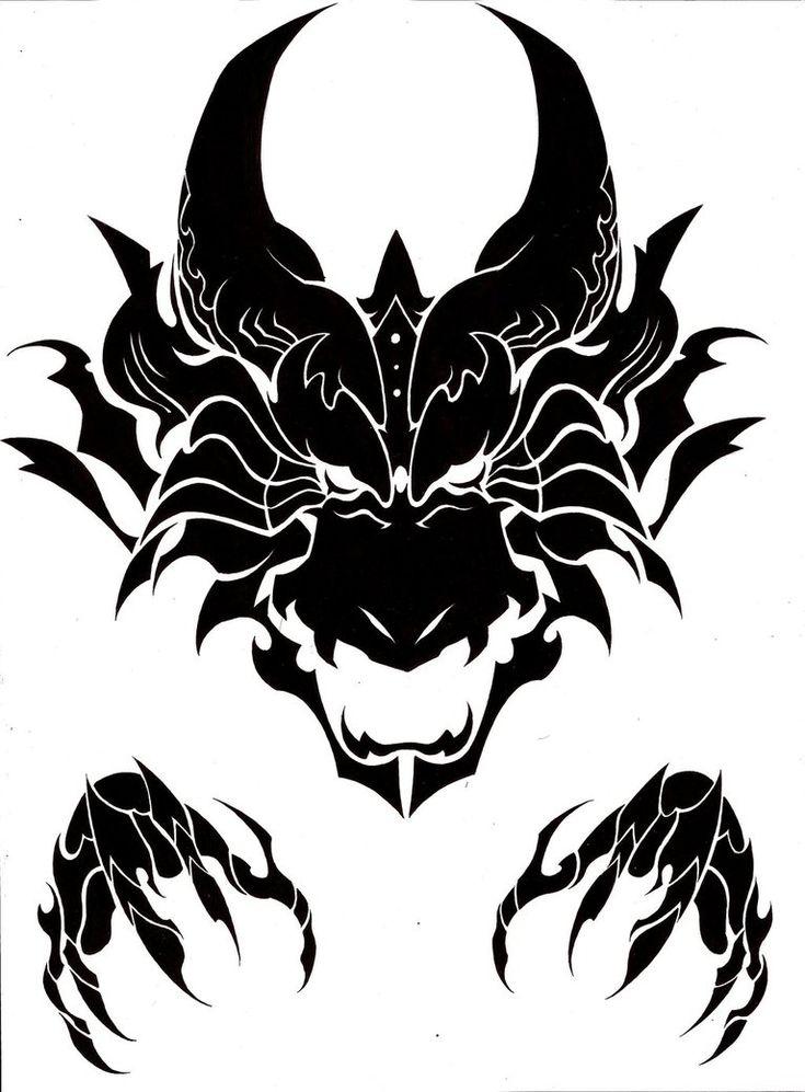 Dragon head tribal by MisterSD | Artwork | Pinterest | Art ...