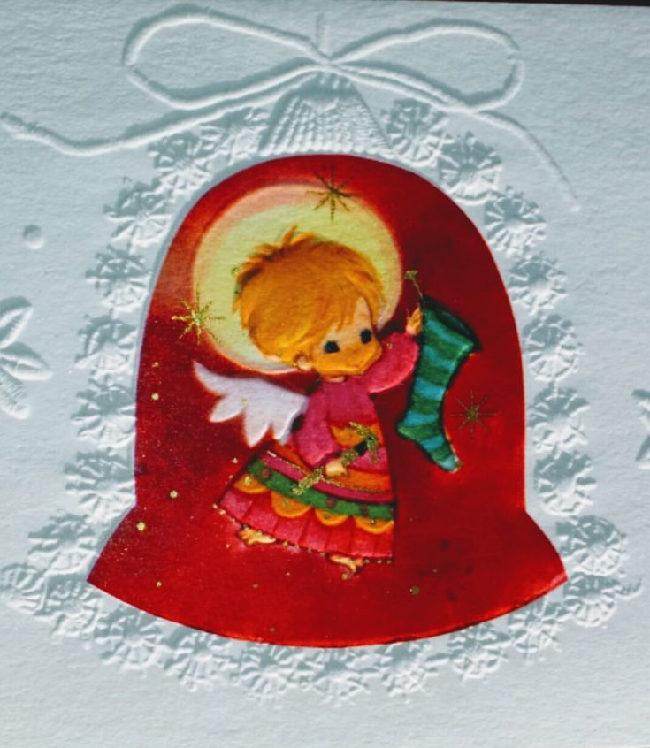 Vintage Hallmark Christmas Card mod angel
