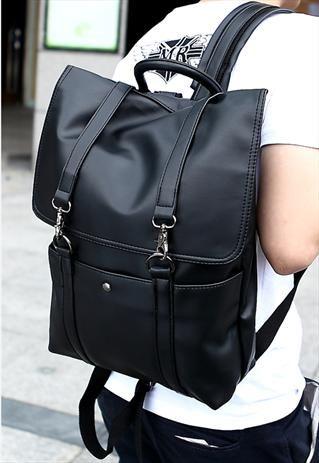Mens Black Leatherette Rucksack Backpack School Laptop Bag ...