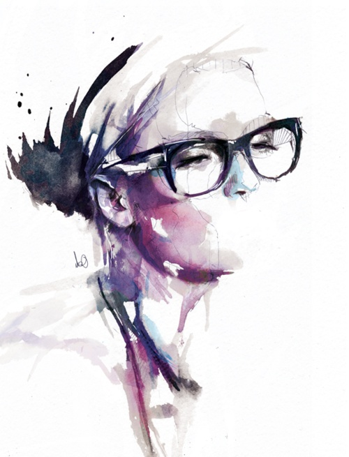 Florian Nicolle {contemporary figurative #expressionist art woman wearing eyeglasses watercolor portrait painting}