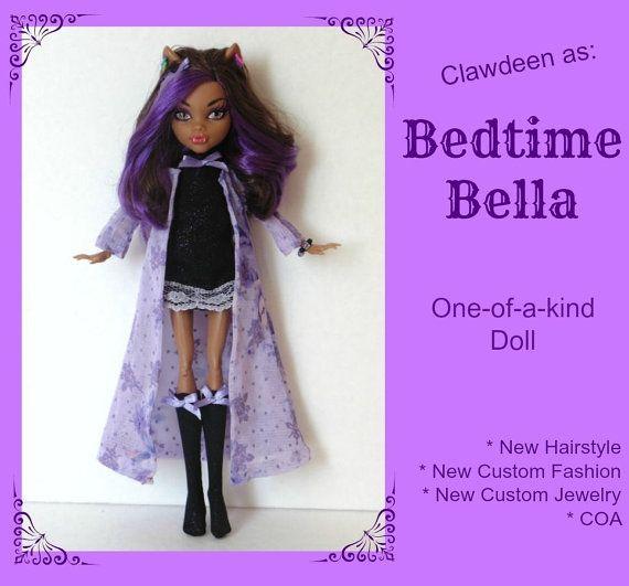 "SALE! -OOAK Monster hoge Clawdeen Wolf Doll - ""Slapengaan Bella"" + aangepaste nieuwe mode + sieraden + nieuwe kapsel, COA"