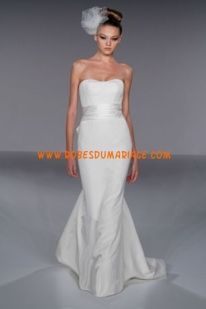 Prestcilla de Boston robe sirène bustier 2012 pas cher ruban robe de mariée taffetas