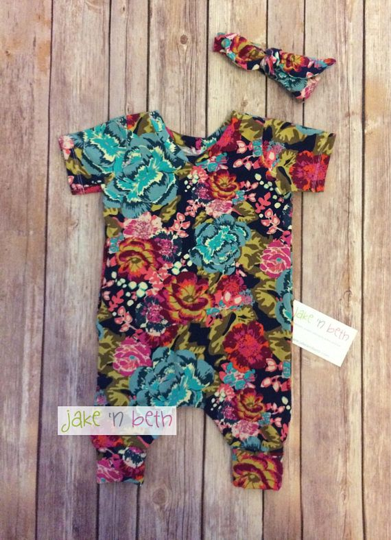 Floral romper, Kids rompers, baby rompers This slip on romper is made with soft knit fabric. It has no snaps or zippers and just slips on through the neck. All items are made in a smoke free, pet free, fragrance free studio. All seams are professional finished. All fabric is preshrunk.