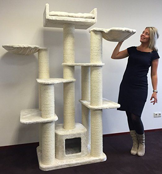 Cat tree for large cat Maine Coon Fantasy Cream White with 15cmØ poles and 120x60x183cm cat scratcher scratching post activity centre. Cat Trees for large cats. Quality production from RHRQuality http://www.kittydevil.com/product-category/cats-furniture/scratchers/
