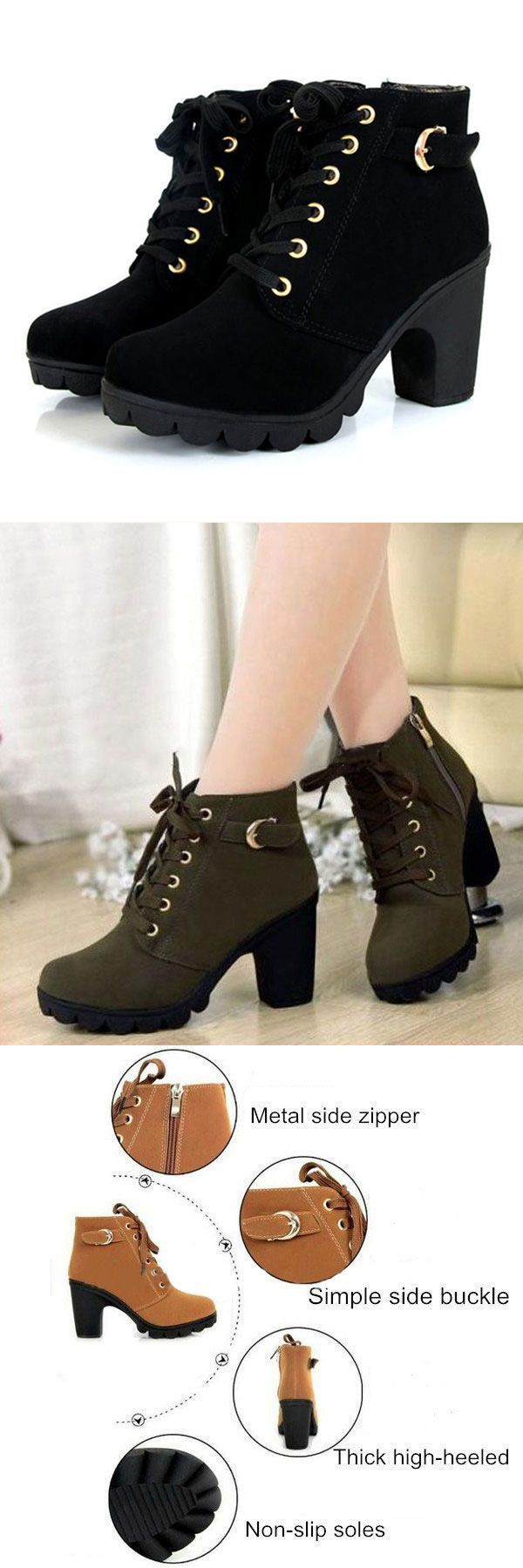 Women girl high top heel ankle boots winter pumps lace up buckle suede shoes boots target #boots ##7 #serum #at #target #boots #0707 #g #boots #motocross #n #boots #snowboard