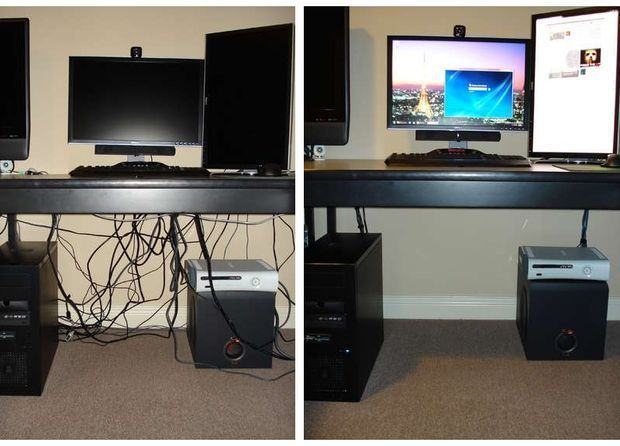 How to hide cords on open desks. This is awesome! This is the one I will be doing! Get that power strip off the floor!