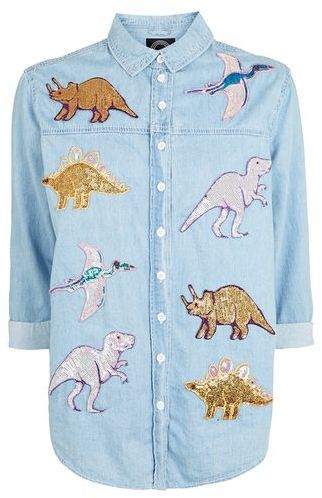 TopShop **Chambray Shirt With Sequin Dinosaur Patches by Kuccia