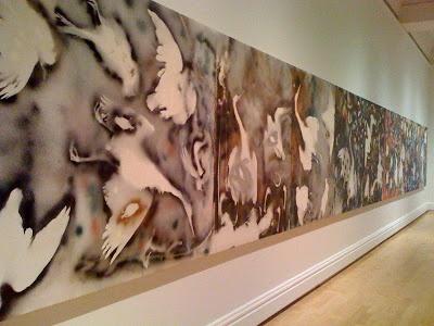 """""""L'hommage à Rosa Luxembourg"""", Jean-Paul Riopelle, Musee des beaux-arts du Quebec. 30 pantins, 40 meters long. Magnificent!"""