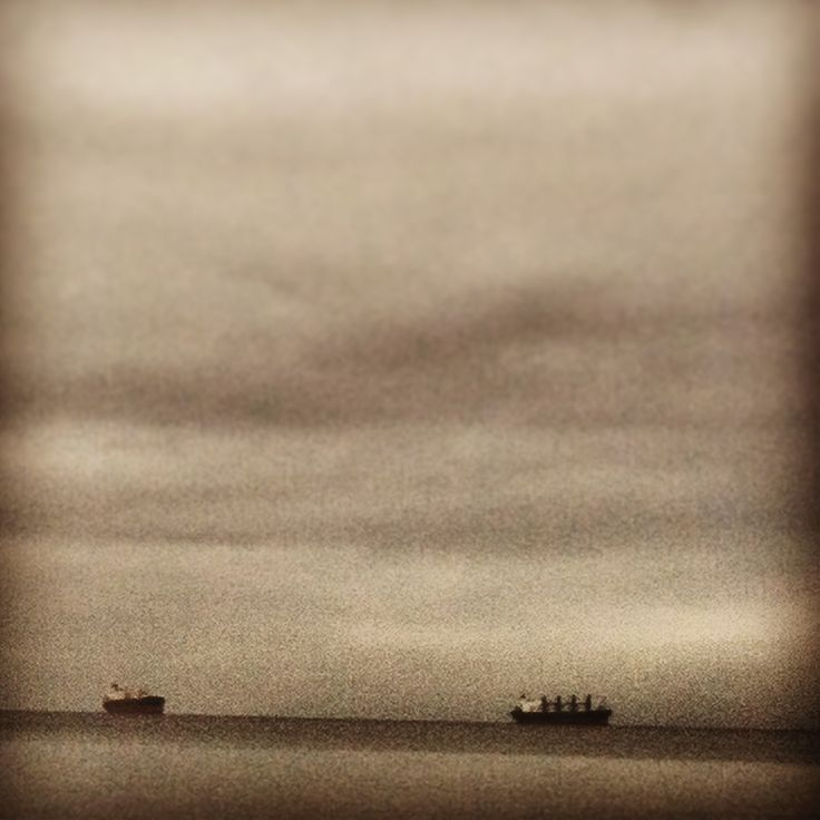 Cargo ships from Stanley Park. Vancouver, BC.