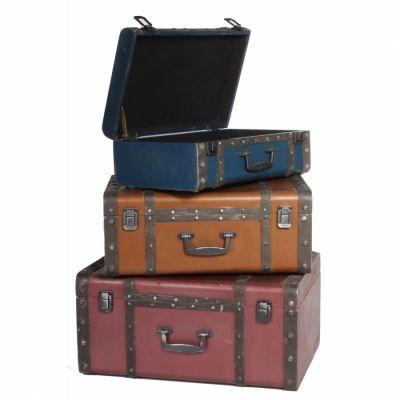 Yedifil - Yedifil Country Kahve Eskitme Üçlü Bavul Dekor