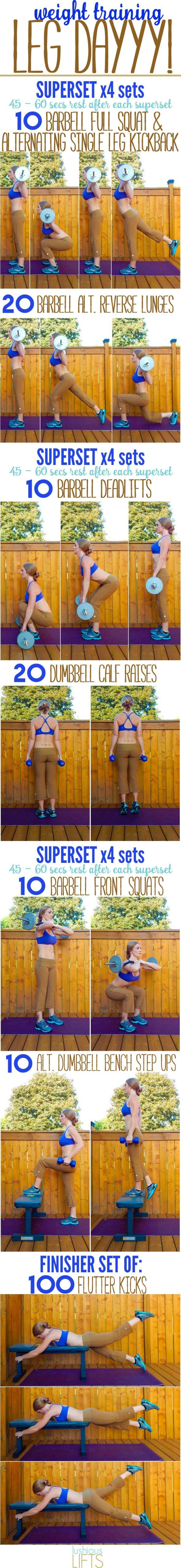Leg supersets with a barbell. (This blogger has a variety of good workout posts with GIFs of the exercises.)