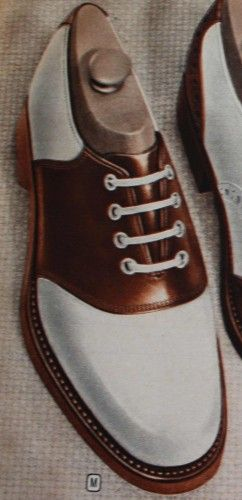 Men's 1940′s Brown and White Saddle Shoes, white laces