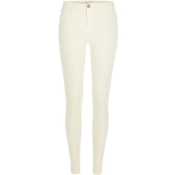 River Island White Molly jeggings ($80) ❤ liked on Polyvore featuring pants, leggings, jeans, white, jeggings, women, jeggings leggings, river island, zipper pants and skinny jeggings