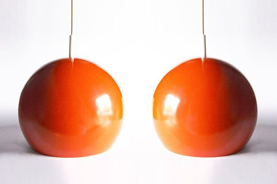 Vintage Dutch Set Of Two Orange Pendants Globes - Raak 60s 70s