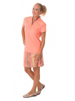 Jamie Sadock Radiance Women's Short Sleeve Mock Neck Golf Shirt with Accent Pockets- Radiance Coral  Jamie Sadock Radiance Group- Fall Collection for Golf - Ladies Golf Apparel - Golf Outfits- Coral and Brown- Jamie Sadock Womens Golf - Golf Shirts- Golf Pants - on and off the course fashion - ladies new arrivals