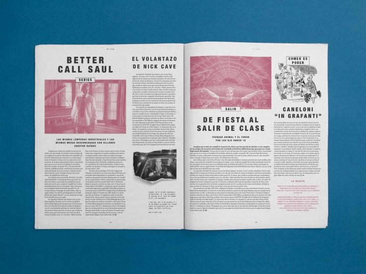 Style guide and layout design for the periodical publication Tentaciones of El País