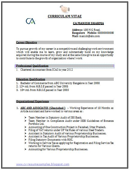 Accountant Resume Format Latest Chartered Accountant Resume