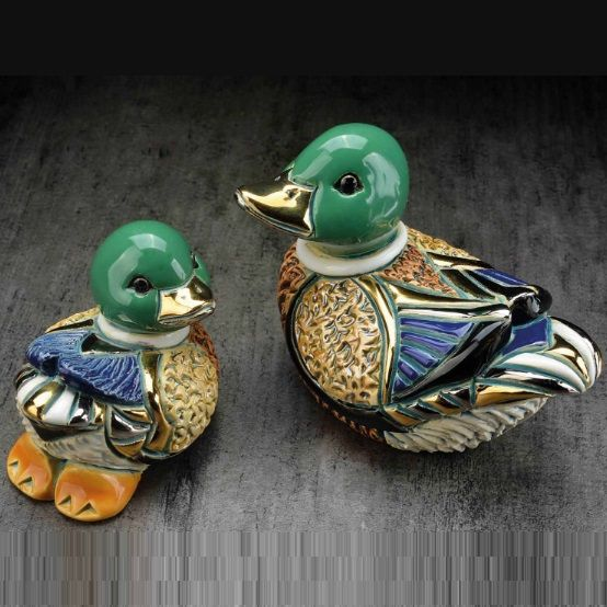 Rich Colors With Gold And Platinum Accents Highlight This Beautifully Designed Mallard Duck Baby Ceramic Figurine Set By The Talented Artists Of De Rosa