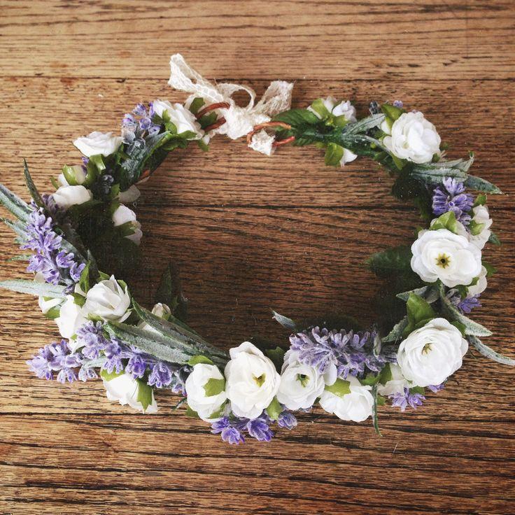 Pretty Flower Crown White and Purple-The Rebekah Crown