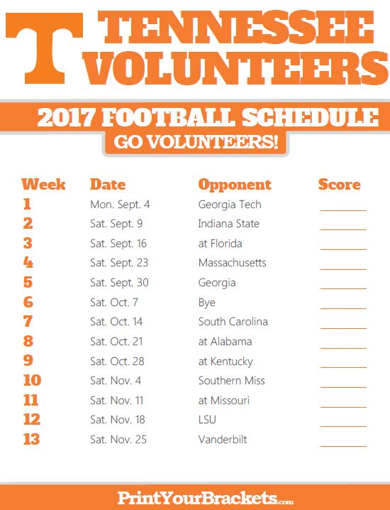 Printable Tennessee Volunteers Football Schedule