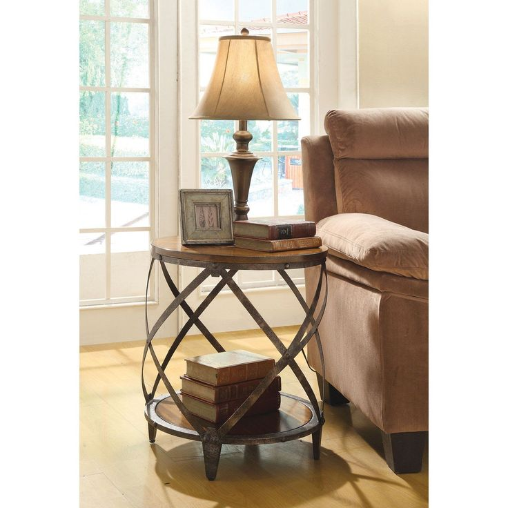 Coaster Furniture Brown Spiral Metal Frame Accent Table - Like the remains of a wine cask whose staves have rotted away over centuries, the Coaster Furniture Brown Spiral Metal Frame Accent Table brings...