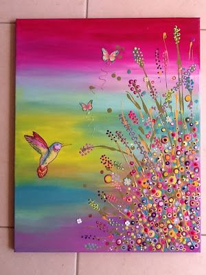 Pretty painting idea. Hummingbird against pastel rainbow background with cute wildflowers and butterflies. I find the colors here so invigorating. Please also visit www.JustForYouPropheticArt.com for more colorful art you might like to pin. Thanks for looking!