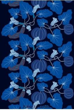 black and blue marimekko
