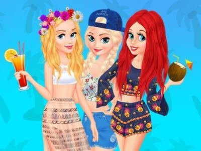 Disney College Spring Break: Chegaram às férias de primavera e as princesas Aurora, Elsa e Ariel estão muito animadas. Elas foram para um resort ensolarado com seus colegas e seu plano é ir a festas na piscina durante o dia e os clubes durante a noite. Ajude-as criando looks da moda.
