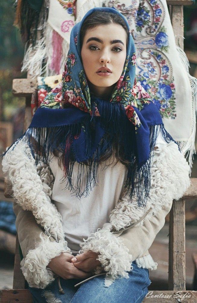 Russian beauty. Russian girls. Fashion. Folk. The Russian Rose, iconic russian scarf photosession.