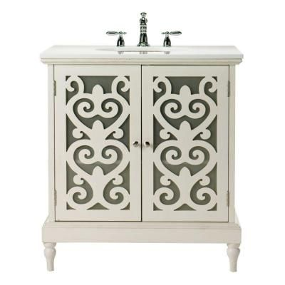 Image Gallery Website Home Decorators Collection Haven in W Single Bath Vanity in Antique White in Marble