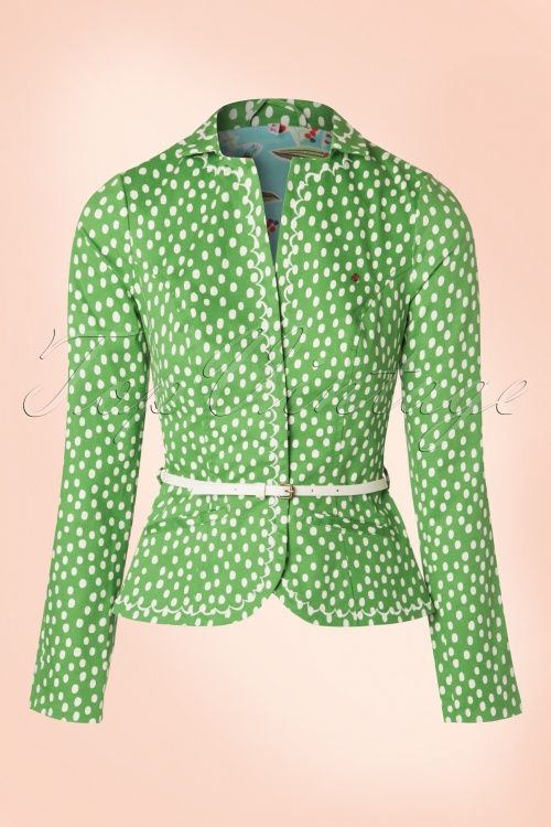 Blutsgeschwister Strasse der Besten Blazer in Green white polkadots print jacket jasje colbert groen wit stippen print