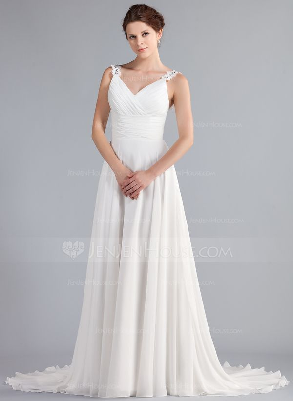 A-Line/Princess V-neck Court Train Ruffle Beading Appliques Lace Regular Straps Sleeveless Beach General Plus No Winter Spring Summer Fall Ivory Chiffon Wedding Dress