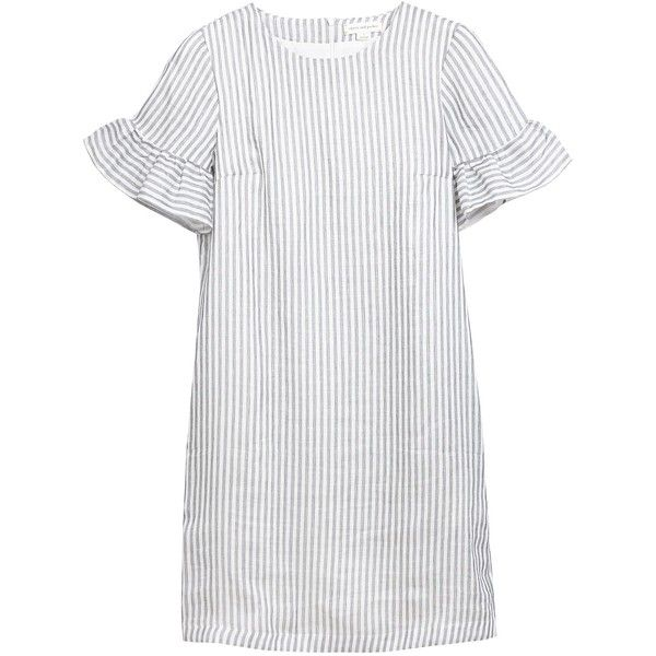 Ruffle Sleeved Shift Dress   Linen Dresses   Chinti and Parker ($220) ❤ liked on Polyvore featuring dresses, white sheath dress, white boat neck dress, flutter-sleeve dress, white dresses and stripe dresses