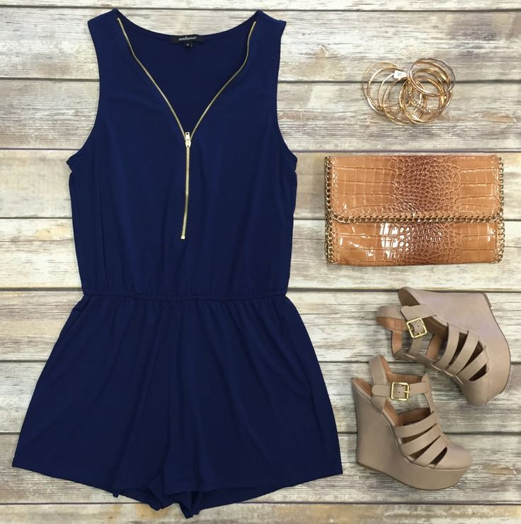 Zip Me Up Romper: Navy
