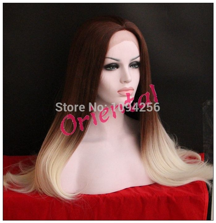 Aliexpress.com: Acheter Oriental livraison gratuite à bas prix à long résistant à la chaleur deux tons de couleur ombre gluelessstraight synthétique lace front perruque de dentelle gâteau fiable fournisseurs sur Oriental Beauty Hair