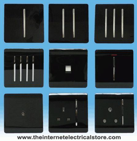 Trendi Modern Designer Black Light Switch Plug Socket Rocker Phone Pc Sockets